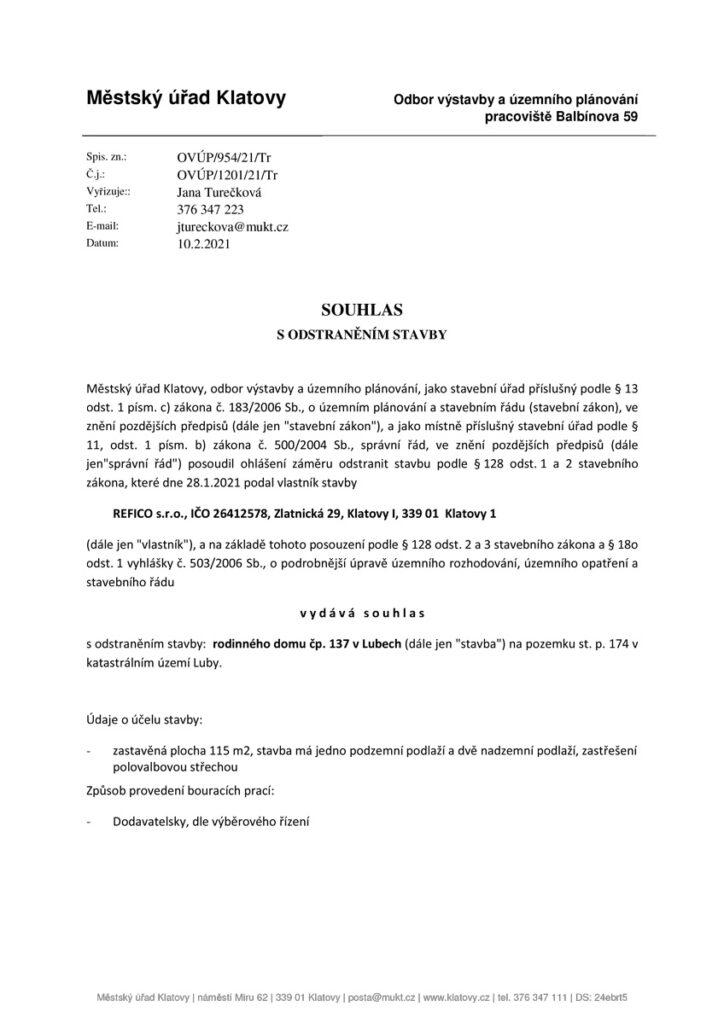 REFICO-souhlas-s-odstranenim-stavby