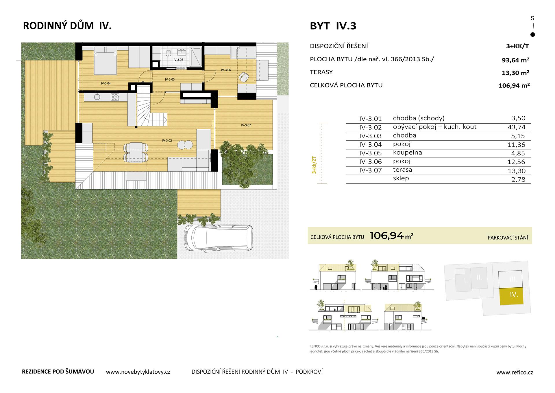 Dům IV., byt 3, podkroví, 3+KK/T