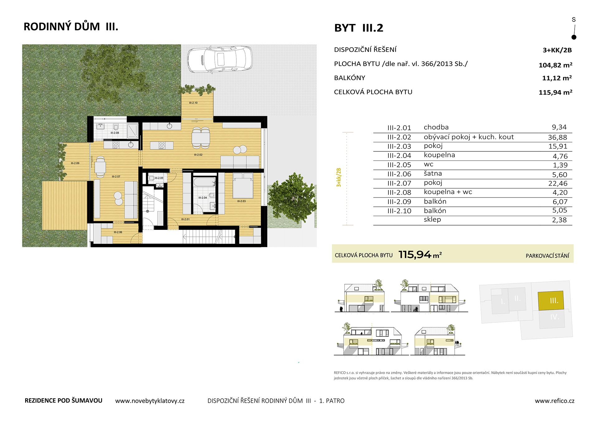 Dům III., byt 2, 1. patro, dvougenerační byt 3+KK/2B, alt. 2+KK/B + garsoniéra/B