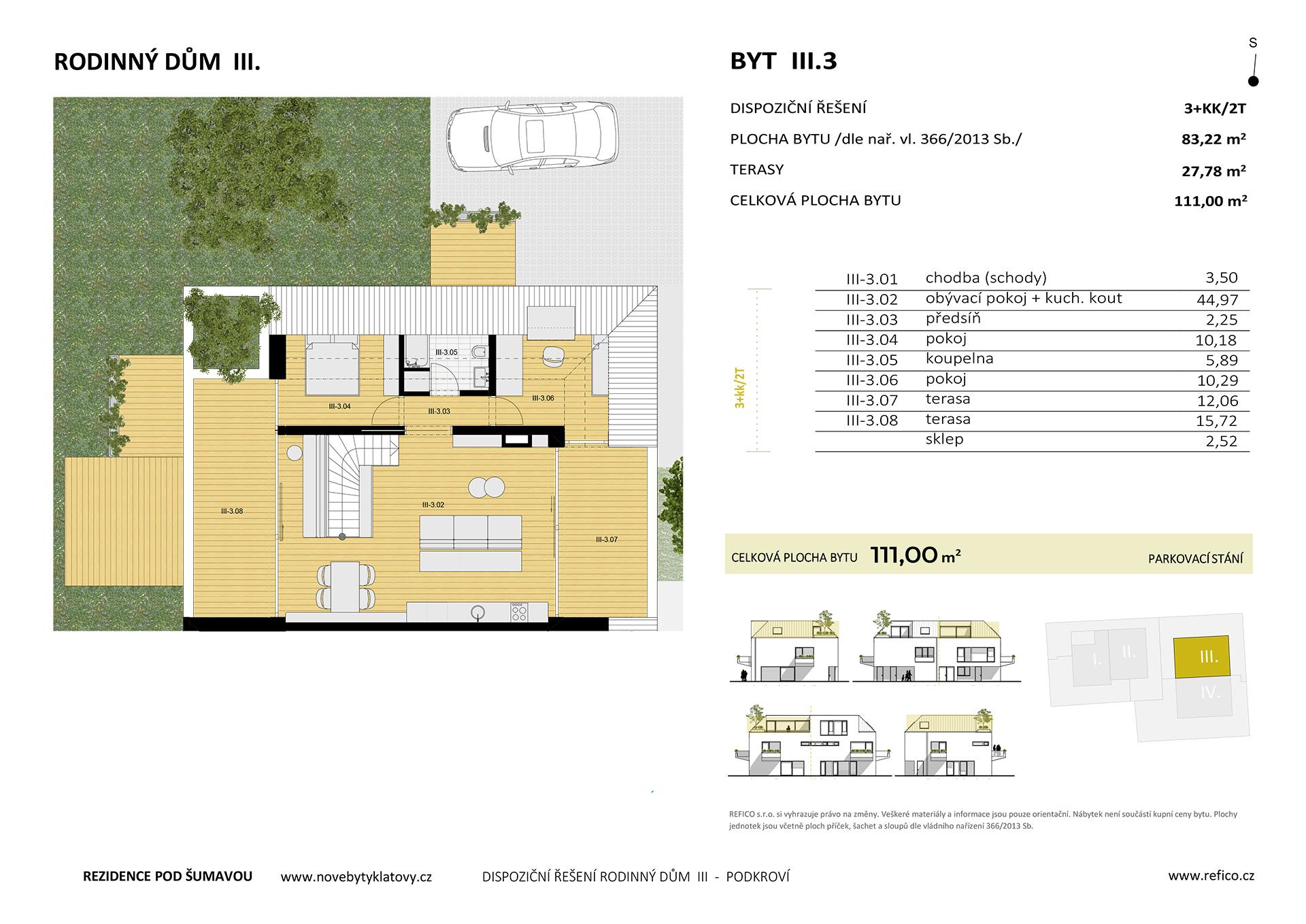 Dům III., byt 3, podkroví, 3+KK/2T