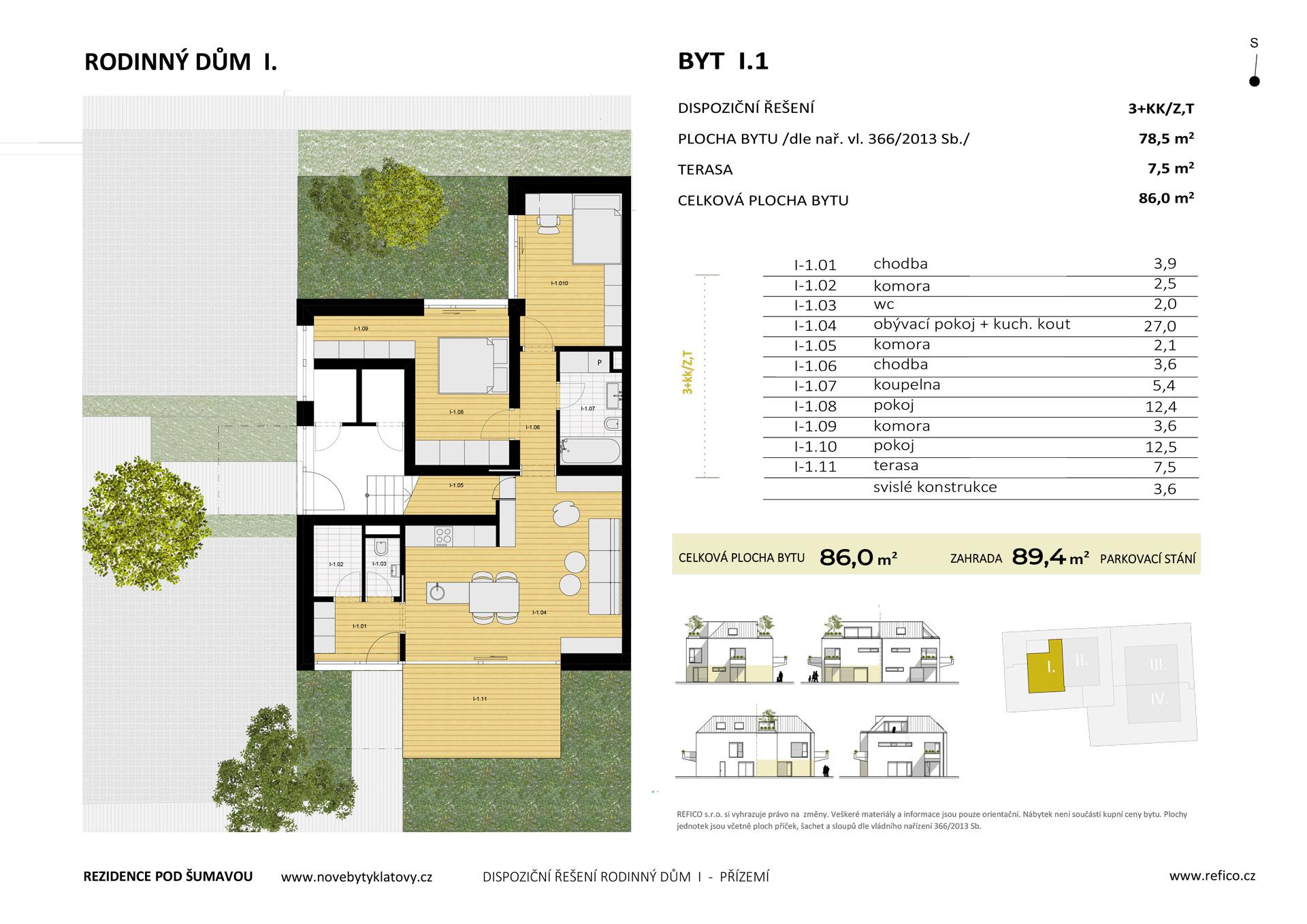 Dům I., byt 1, přízemí, 3+KK/Z,T