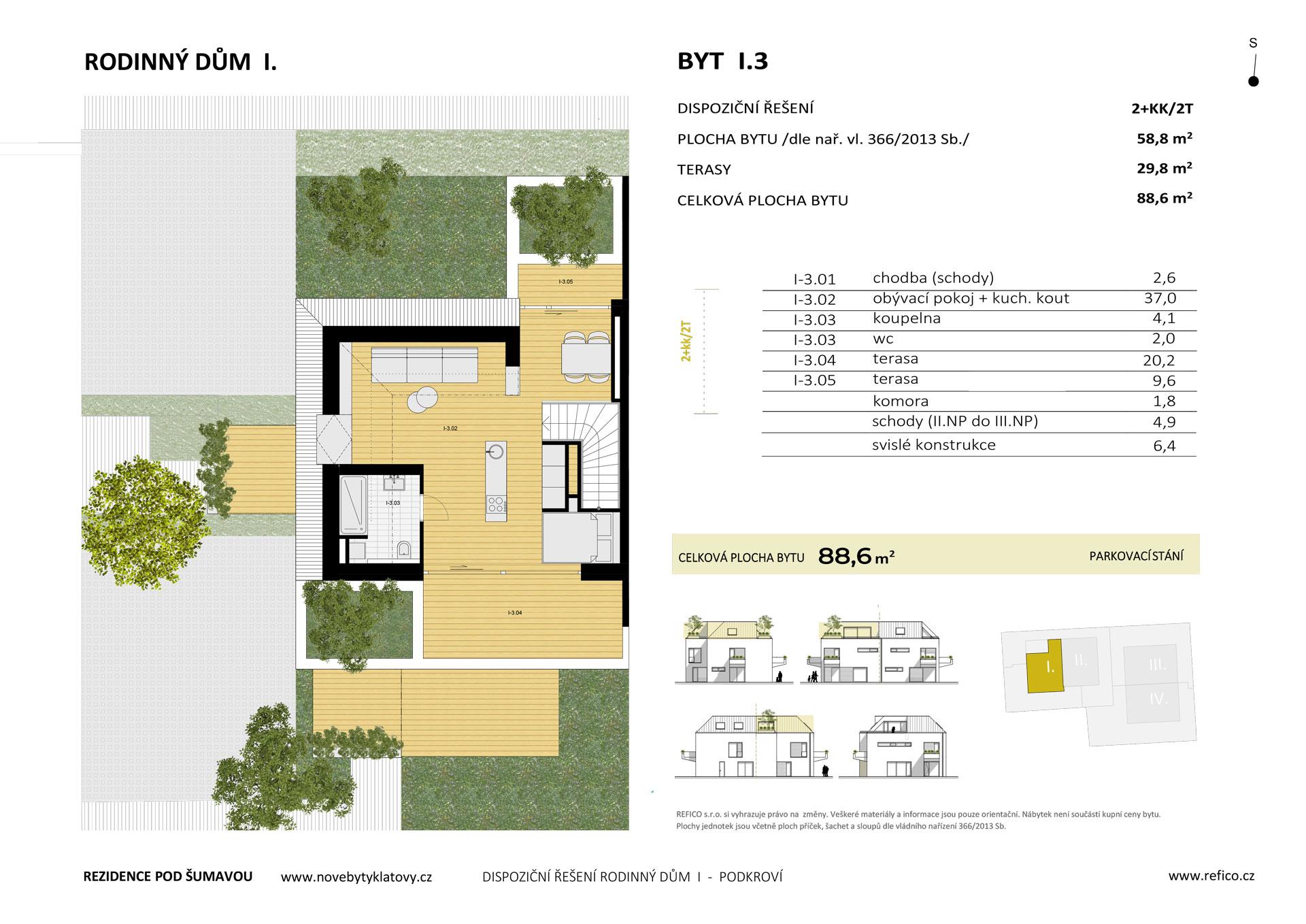 Dům I., byt 3, podkroví, 2+kk/2T