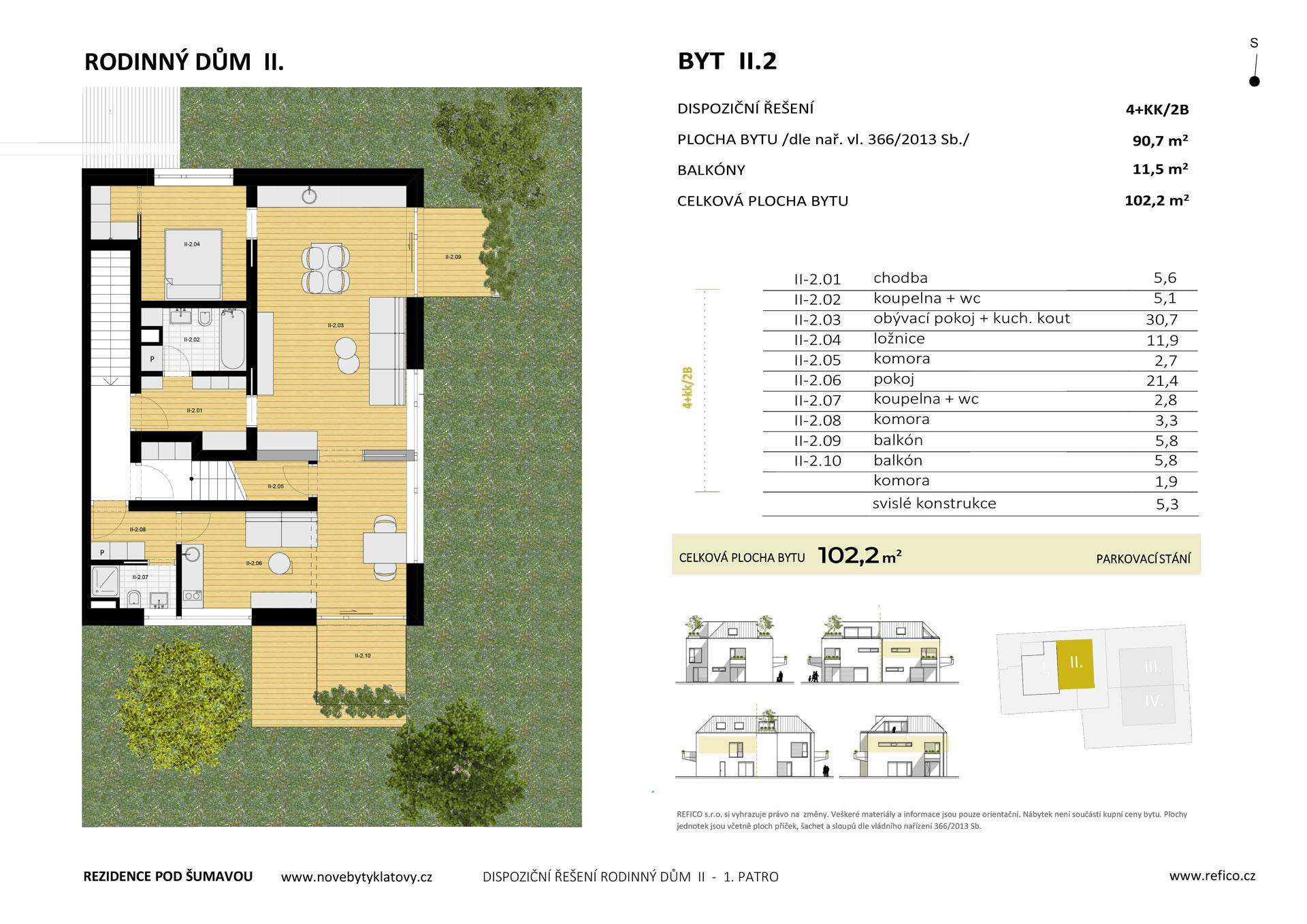 Dům II., byt 2, 1. patro, dvougenerační byt 4+KK/2B, alt. 2+KK/B + garsoniéra/B