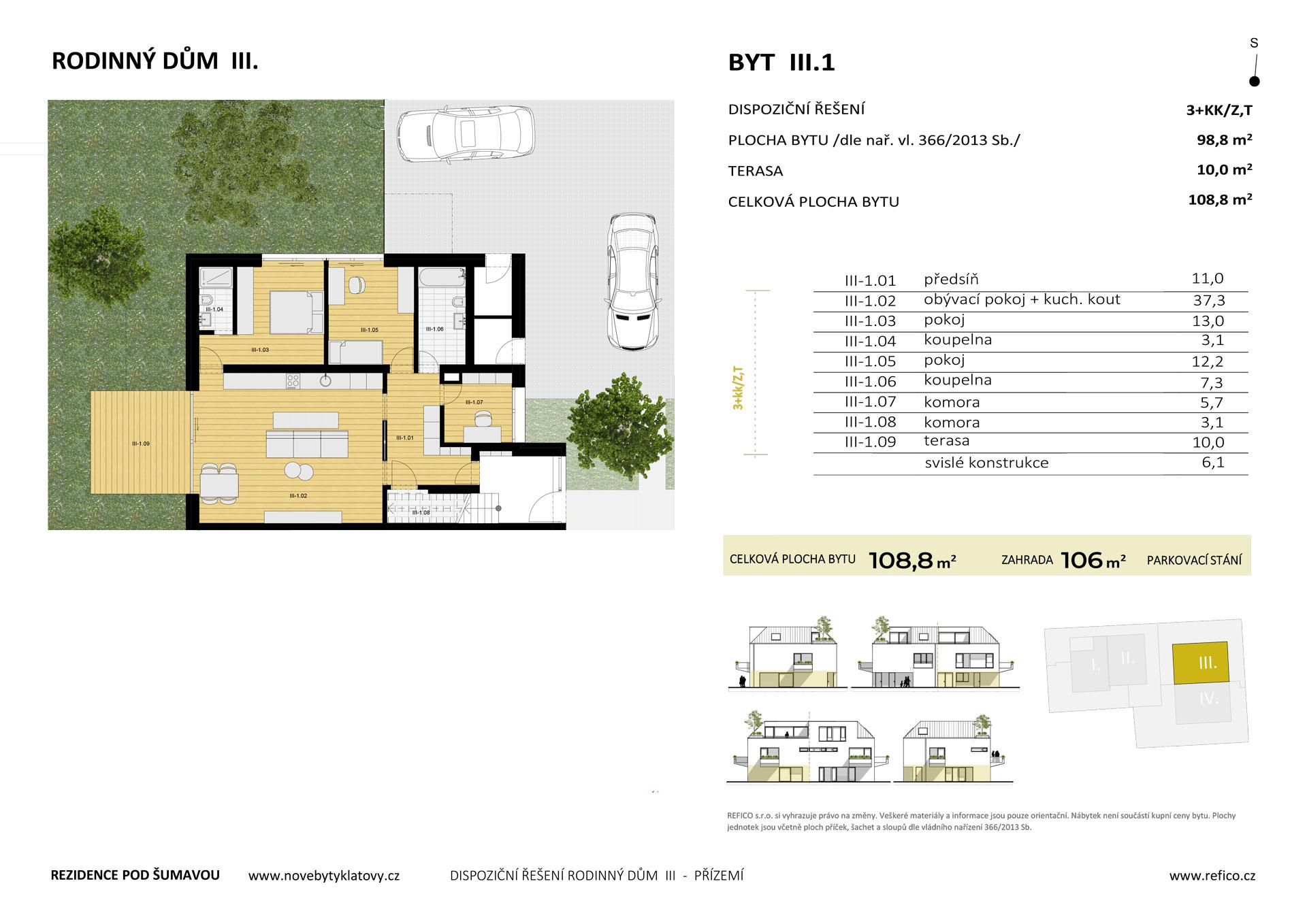 Dům III., byt 1, přízemí, 3+KK/Z,T