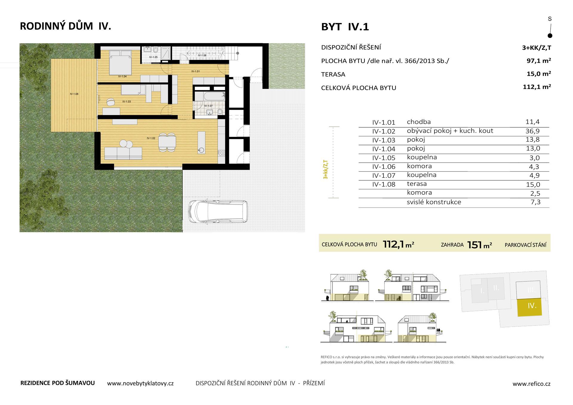 Dům IV., byt 1, přízemí, 3+KK/Z,T