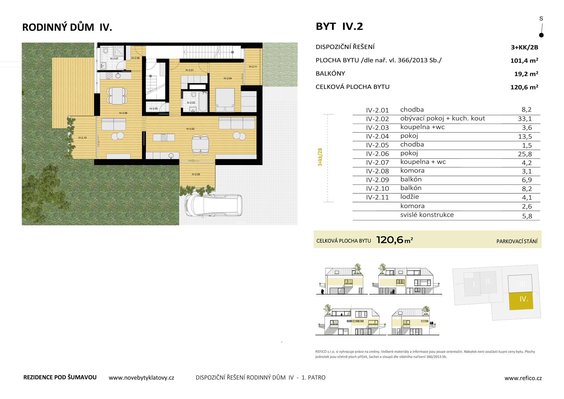 Dům IV., byt 2, 1. patro, dvougenerační byt 3+KK/2B, alt. 2+KK/B + garsoniéra/B